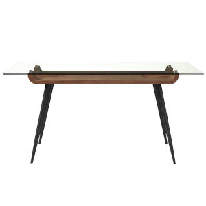 Esmoriz Walnut, Clear and Black 63-Inch Dining Table