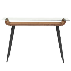Esmoriz Walnut, Clear and Black 47-Inch Console Table