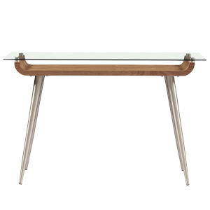 Esmoriz Walnut, Clear and Stainless Steel 47-Inch Console Table