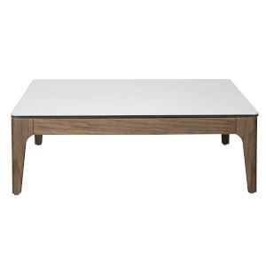 Haldis White and Walnut 35-Inch Coffee Table
