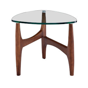 Ledell Clear and Walnut 24-Inch Side Table
