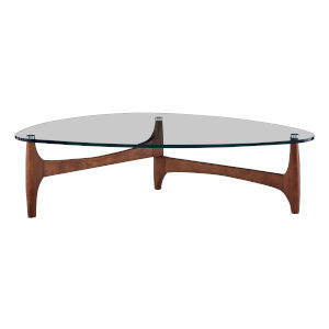Ledell Clear and Walnut 52-Inch Coffee Table