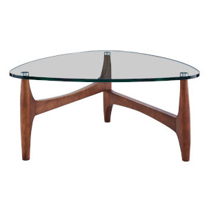 Ledell Clear and Walnut 35-Inch Coffee Table
