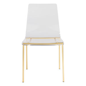 Aspen Clear and Matte Brushed Gold Side Chair, Set of 4