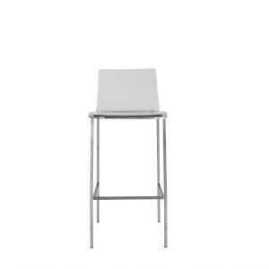 Emerson Clear and Brushed Aluminium Counter Stool, Set of 2
