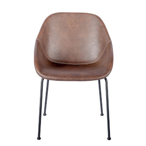 Nicollet Brown Leatherette Side Chair, Set of 2