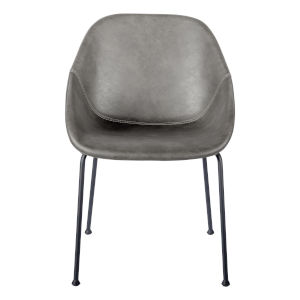 Milo Dark Gray Leatherette Side Chair, Set of 2