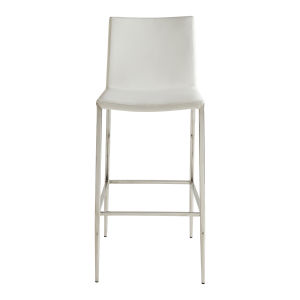 Loring White Leatherette Bar Stool