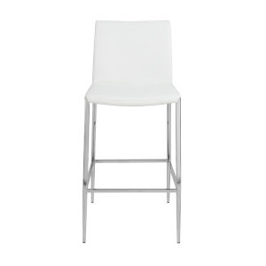 Loring White Leatherette Counter Stool