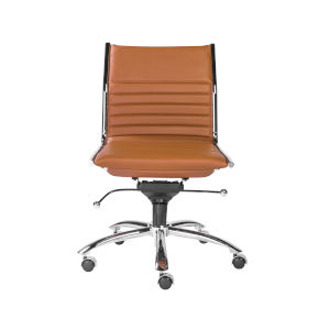 Emerson Cognac and Chrome Leatherette Armless Low Back Office Chair