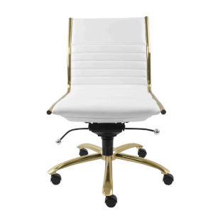 Emerson White Leatherette Armless Low Back Office Chair