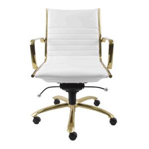 Emerson White Leatherette Low Back Office Chair