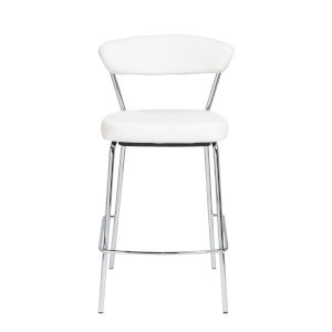 Loring White Leatherette Counter Stool, Set of 2
