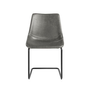 Loring Dark Gray Leatherette Side Chair, Set of 2