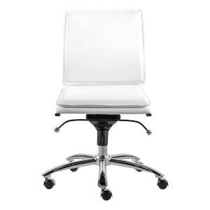 Freya White Low Back Armless Office Chair