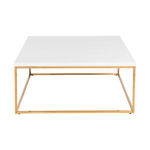 Maeve High Gloss White and Gold Stainless Steel Coffee Table
