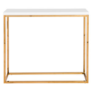 Maeve High Gloss White and Gold Stainless Steel Console Table