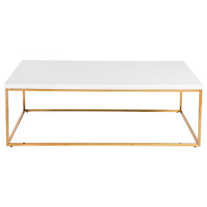 Maeve High Gloss White and Gold Stainless Steel Rectangular Coffee Table