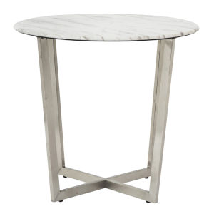Llona White 24-Inch Round Side Table