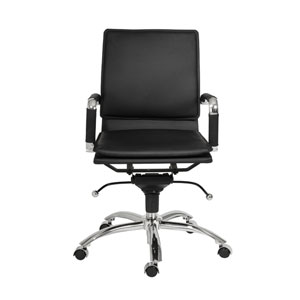 Gunar Black Leatherette Pro Low Back Office Chair