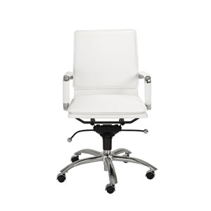 Gunar White Leatherette Pro Low Back Office Chair