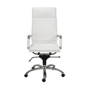 Gunar White Leatherette Pro High Back Office Chair