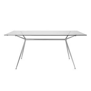 Atos 66-inch Rectangle Dining Table/Desk with Clear Tempered Glass Top and Chrome Base