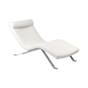 Gilda Lounge Chair in White with Silver Base