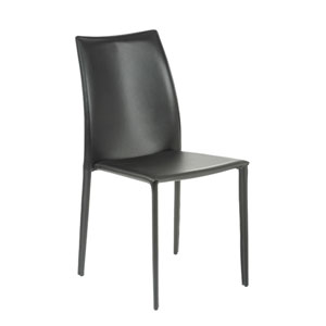 Dalia Black Leather Side Chair, Set of Four