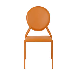 Isabella Orange Leather Side Chair, Set of Two