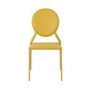 Isabella Yellow Leather Side Chair, Set of Two