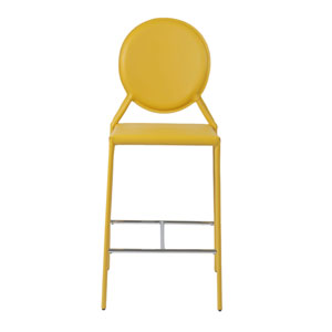 Isabella Yellow Leather Counter Chair, Set of Two