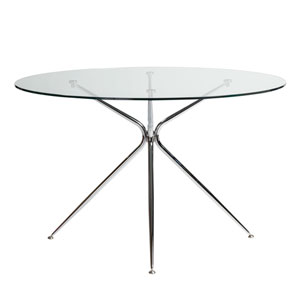 Atos 48-inch Round Dining Table with Clear Tempered Glass Top and Chrome Base