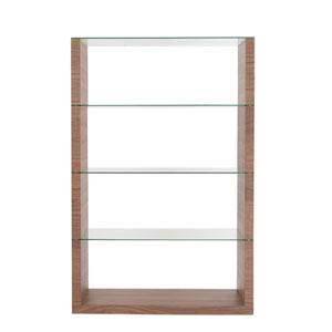 Lennox 4 Shelf Unit in Walnut with Clear Glass Shelves