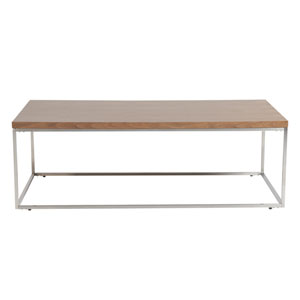 Teresa Rectangle Coffee Table in American Walnut with Brushed Stainless Steel Base