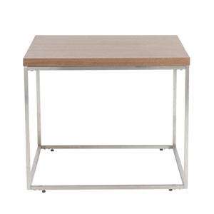 Teresa Square Side Table in American Walnut with Brushed Stainless Steel Base