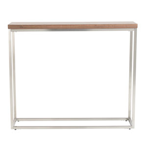 Teresa Console Table in American Walnut with Brushed Stainless Steel Frame