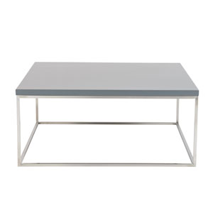 Teresa Square Coffee Table in Matte Gray with Brushed Stainless Steel Base