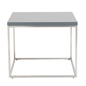 Teresa Square Side Table in Matte Gray with Brushed Stainless Steel Base