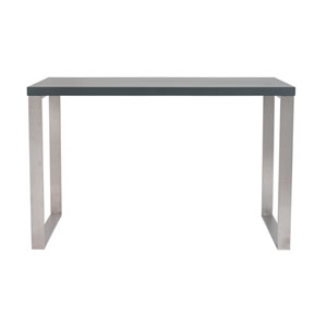 Dillon Desk in Matte Gray with Brushed Stainless Steel Base