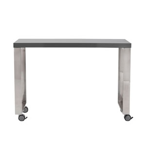Dillon 40-inch Side Return in High Gloss Gray and Polished Stainless Steel