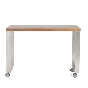 Dillon 40-inch Side Return in American Walnut and Brushed Stainless Steel