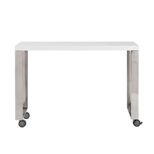 Dillon 40-inch Side Return in High Gloss White and Polished Stainless Steel