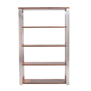 Dillon 40-inch Shelving Unit with Walnut Shelves and Brushed Stainless Steel Frame