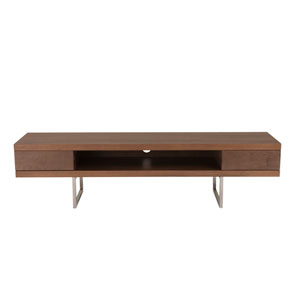 Miranda TV Stand in American Walnut with Brushed Stainless Steel Legs