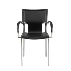 Vinnie Black Leather Arm Chair, Set of Two