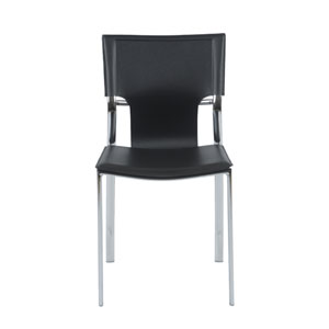 Vinnie Black Leather Side Chair, Set of Four