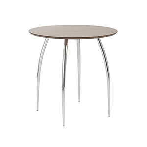 Bistro 30-inch Round Table  in American Walnut with Chrome Legs