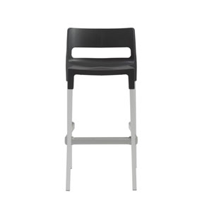 Divo Stackable Bar Stool in Anthracite with Aluminum Legs  - Set of 4