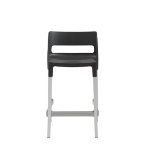 Divo Stackable Counter Stool in Anthracite with Aluminum Legs - Set of 4